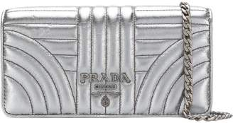 Prada Diagramme Chain Wallet Quilted Mini Silver