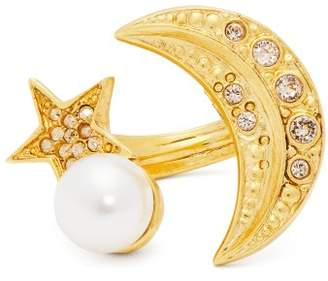 Oscar de la Renta Moon And Star Crystal Embellished Ring - Womens - Gold