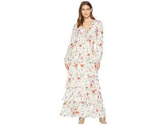 Hale Bob Floral Forever Printed Rayon Snake Maxi Dress