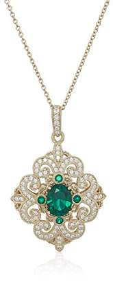 Swarovski Women's Yellow Gold Plated Sterling Silver Synthetic Emerald Antique Pendant With Cable Chain