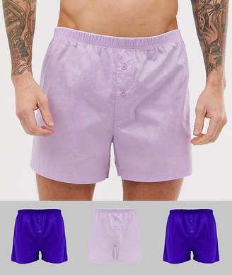 Asos Design DESIGN woven boxer in purple 3 pack multipack saving