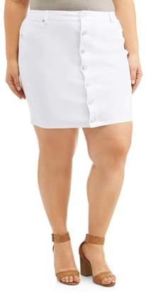 fd931bf2adb3 A3 Denim Women's Plus Size Button Down Stretch Denim Pencil Skirt