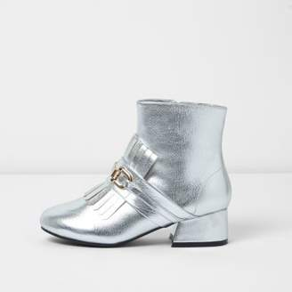 River Island Girls silver loafer detail ankle boots