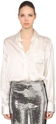 Ermanno Scervino Patchwork Silk Satin & Lace Shirt