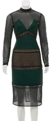 Self-Portrait Long Sleeve Midi Dress