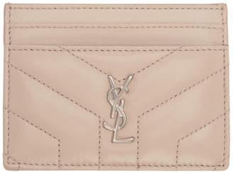 Saint Laurent Pink Quilted Monogram Card Holder