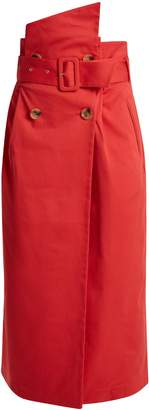 ANNA OCTOBER Gathered-waist cotton-twill skirt
