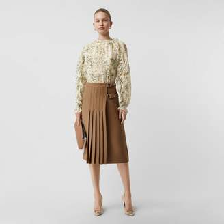 Burberry Ruffle Detail Floral Silk Blend Blouse