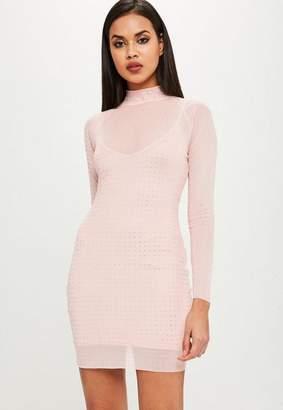 Missguided Carli Bybel x Pink Hot Fix Dress