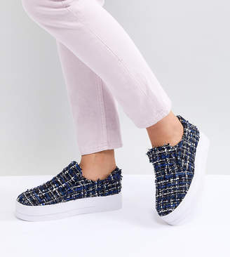 Pieces Sellis Tweed Slip On Sneakers