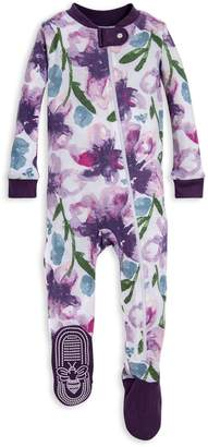Burt's Bees Watercolor Daylily Organic Baby Zip Front Footed Pajamas