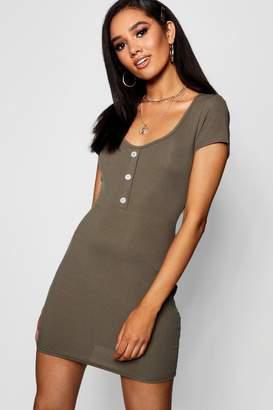 boohoo Petite button rib mini dress