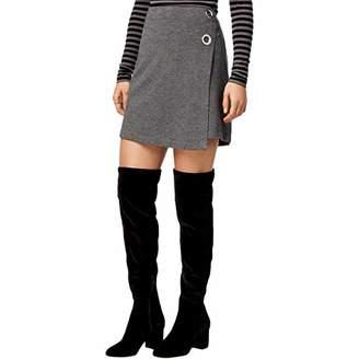 Kensie Women's Ponte Faux Wrap Skirt with Ties