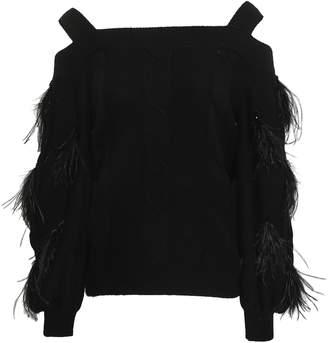 ADEAM Cold-shoulder Embellished Cable-knit Cashmere Sweater