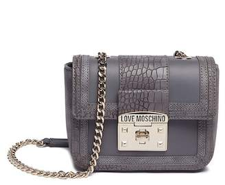 Love Moschino Croc Embossed PU Leather Shoulder Bag