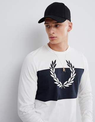 Fred Perry blocked laurel wreath long sleeve top in white