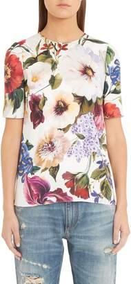 Dolce & Gabbana Floral Print Silk Charmeuse Tee