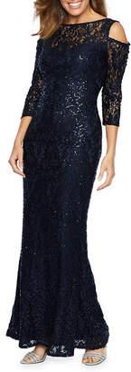 BLU SAGE Blu Sage 3/4 Sleeve Cold Shoulder Sequin Lace Evening Gown