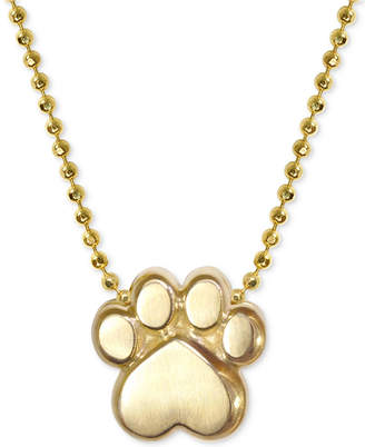 "Alex Woo Activist's Paw 16"" Pendant Necklace in 14k Gold"