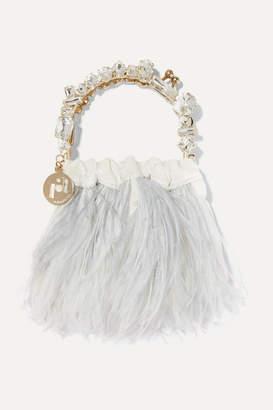 Rosantica Diana Mini Embellished Feather-trimmed Velvet Tote - Ivory