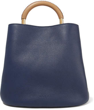 Marni Pannier Large Textured-leather Tote - Navy