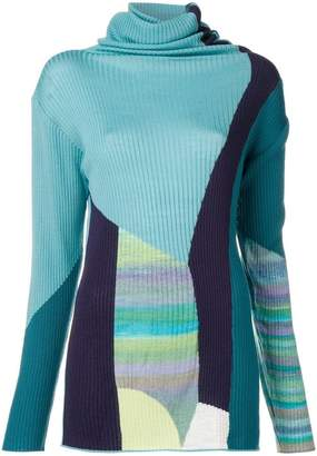 Tsumori Chisato roll neck colour block sweater