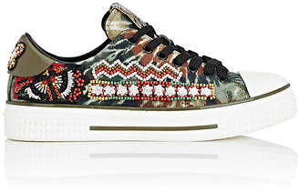 Valentino Women's Beaded Tie-Dyed Canvas Sneakers $1,595 thestylecure.com