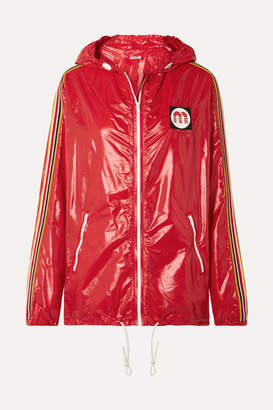 Miu Miu Hooded Webbing-trimmed Shell Jacket - Red
