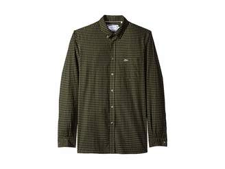 Lacoste Long Sleeve Regular Fit Cotton Twill Casual Button Down w/ Checkbox Print