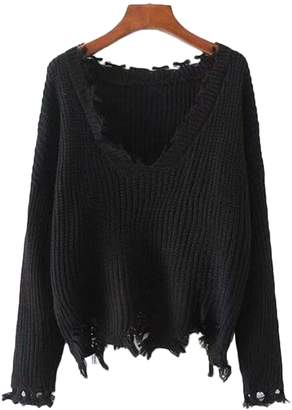 Goodnight Macaroon 'Deborah' Distressed Cropped V-neck Sweater (2 Colors)