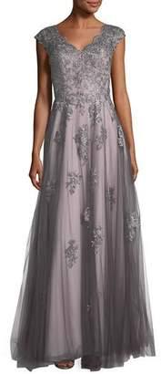 La Femme V-Neck Embroidered Mesh Evening Gown