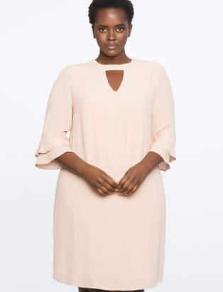 ELOQUII Ruffle Sleeve Easy Dress