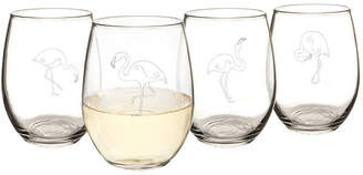 Cathy's Concepts CATHYS CONCEPTS Set of 4 Flamingo Stemless Wine Glasses