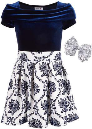 Beautees Big Girls Plus 3-Pc. Bodysuit, Skirt & Bow Set