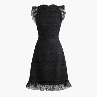 J.Crew Cap-sleeve ruffle dress in mixed lace