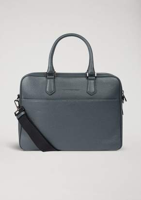 Emporio Armani Grained Leather Briefcase With Shoulder Strap