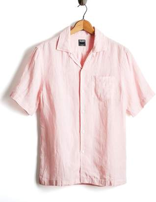 Todd Snyder Short Sleeve Linen Camp Collar Shirt in Pink
