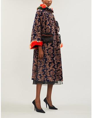 QUETSCHE Tsar faux-fur-trimmed velvet-jacquard coat