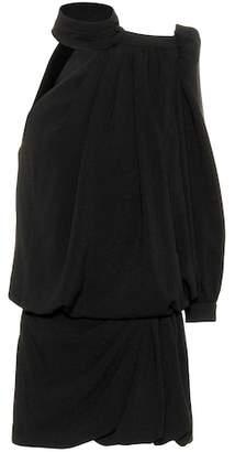 Saint Laurent One-shoulder crêpe minidress
