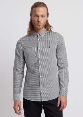 Emporio Armani Shirt In Striped Cotton Satin With Pockets
