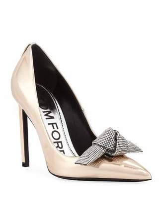 c73fd3700c9 Tom Ford Mirrored Metallic Pumps with Crystal Bow