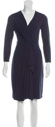 Armani Collezioni Pleated Knee-Length Dress Blue Pleated Knee-Length Dress