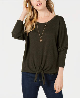 Style&Co. Style & Co Petite Tie-Front Sweater, Created for Macy's