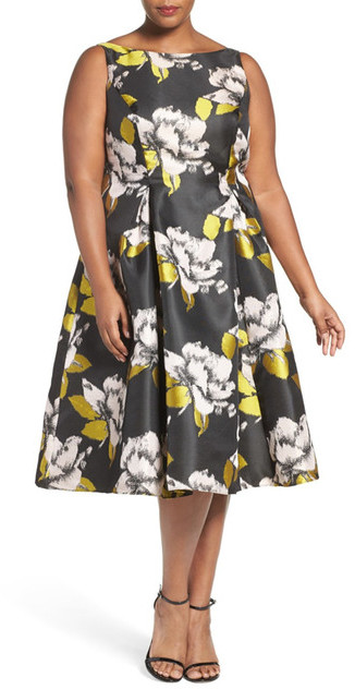 Adrianna PapellAdrianna Papell Floral Tea Length Dress (Plus Size)