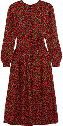 Vanessa Seward - Cai Floral-print Silk-jacquard Dress - Red $1,245 thestylecure.com