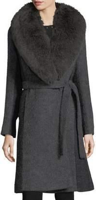 Fleurette Wrap-Front Shawl-Collar Textured Knit Wrap Coat