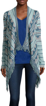 ARIZONA Arizona Long-Sleeve Patterned Fringe Cardigan - Juniors $40 thestylecure.com