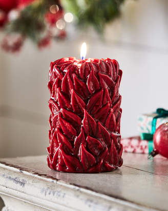 Large Leaves Holiday Pillar Candle