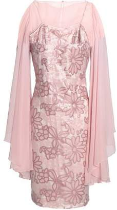 Mikael Aghal Silk Chiffon-Paneled Sequined Tulle Dress
