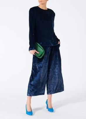 Tibi Velvet Lurex Stella Cropped Wide-Leg Pants